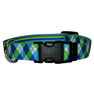 Blue and Green Argyle Break Away Cat Collar