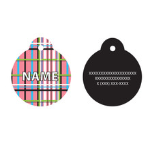 Tartan Plaid Pink HD Pet ID Tag