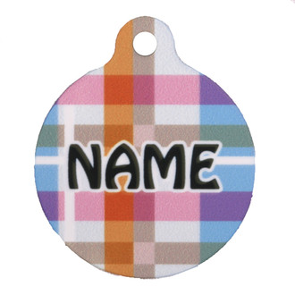 Madras Plaid Blue HD Pet ID Tag