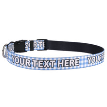 Personalized Gingham Blue Dog Collar