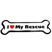 I Love My Rescue Bone Magnet