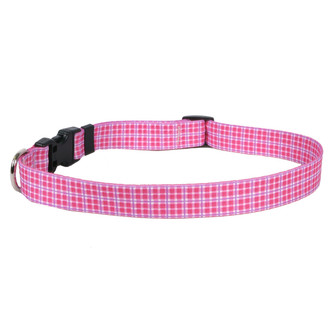 Preppy Plaid Pink Dog Collar