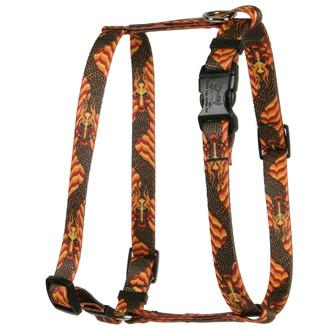 Dragon Wave Orange Roman Style H Dog Harness