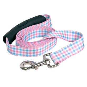 Southern Dawg Gingham Pink and Blue Premium Dog Leash