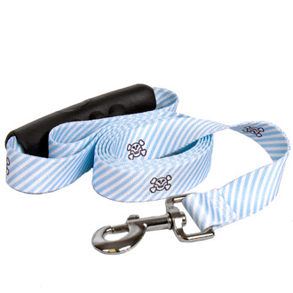 Southern Dawg Seersucker Blue with Skulls Premium Dog Leash