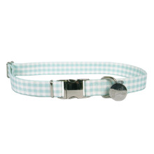 Southern Dawg Gingham Mint Premium Dog Collar
