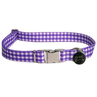 Southern Dawg Gingham Purple Premium Dog Collar