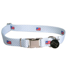 Southern Dawg Seersucker Blue with American Flags Premium Dog Collar
