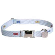 Southern Dawg Seersucker Blue with Bow Ties Premium Dog Collar