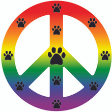 Rainbow Peace Sign Paw Magnet