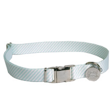 Southern Dawg Seersucker Mint Premium Dog Collar