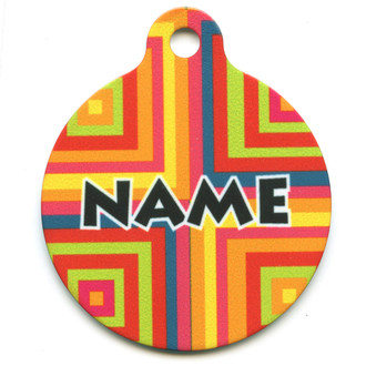 Orange Blocks HD Pet ID Tag