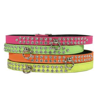 Neon 2-Row Crystal Dog Collar