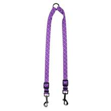 Purple and Pink Diagonal Plaid Coupler Dog Leash
