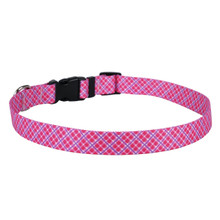 Pink and Purple Diagonal Plaid Dog Collar