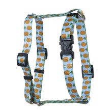 Pineapples Blue Roman Style H Dog Harness