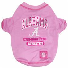 Alabama Crimson Tide Pink Tee Shirt For Dogs