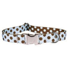 Polka Dot Blue and Brown Premium Metal Buckle Dog Collar
