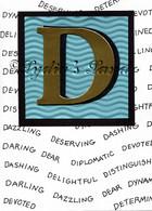 Monogram D Birthday card