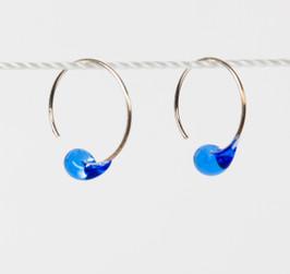 Blue Glass drop loops