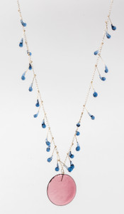 Glass Disc and Drops Necklace