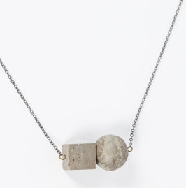 Concrete Cube and Sphere Necklace