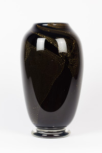 Black with Gold Leaf Art Glass Vase