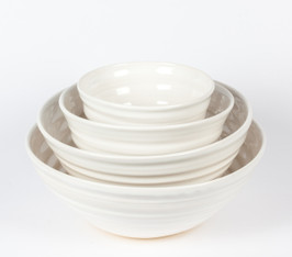 White graduated serving bowls--Set of 4