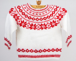 White and Red Vintage Child's Sweater