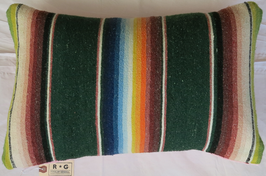 Vintage-Blanket Pillow Green/Multi