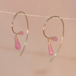 Tiny droplets on silver hoops