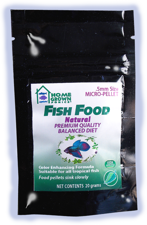- Safe for Aquaponics! - 0.5mm size micro pellet - Food pellets sink slowly - 40% protein - Made in the USA
