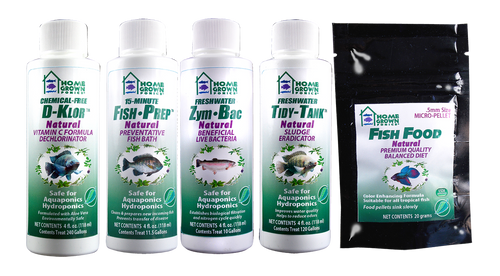 This kit has everything you need to refill or replace your AquaFarm Supplies. Includes: Fish Prep 4oz, D-Klor 4oz, Zym-Bac 4oz, Tidy Tank 4oz, 20 grams of fish food.