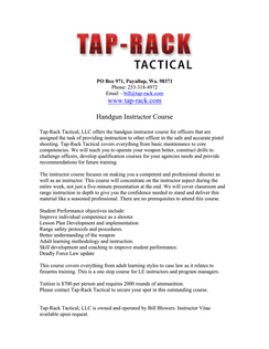 Mar 5-9, 2018 Bill Blowers - Law Enforcement Firearms Instructors - Tap Rack Tactical