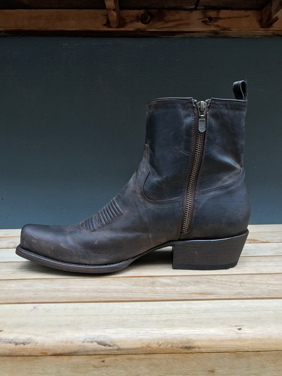 Chocolate Ankle Zipper Boot