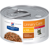 Hill's Feline c/d Multicare Urinary Stress Chicken & Vegetable Stew (24 x 2.9 oz. Cans)