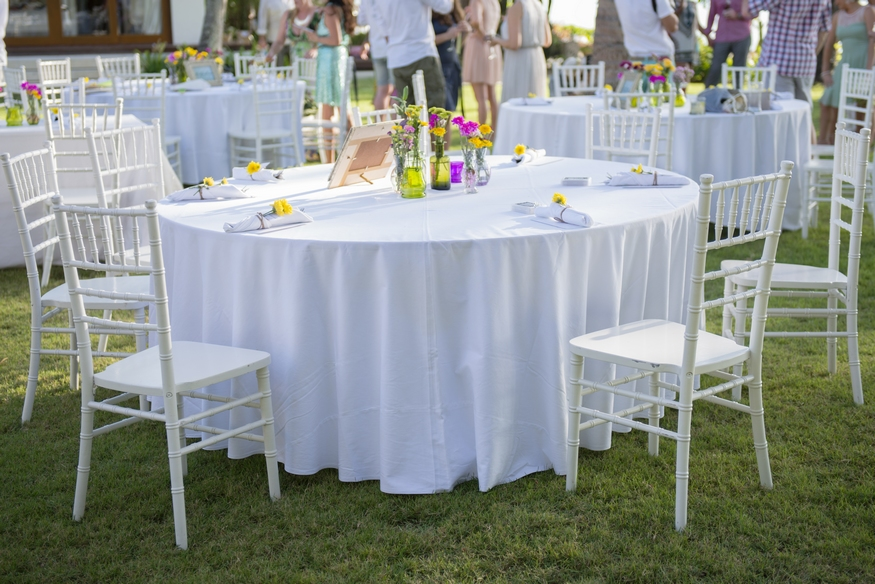Wedding table linens white tablecloths