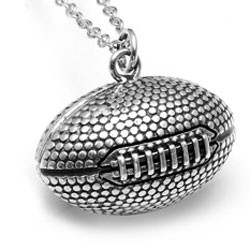 "Rhodium plated or 14K gold plated - 23 x 14mm (approx.1 x .5""diameter) football pendant"