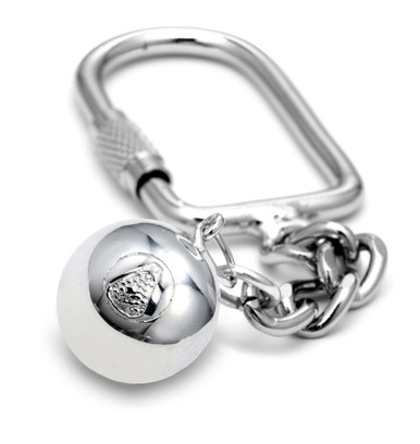 """16mm (approx.5/8""""diameter) lacrosse ball on a keychain."""