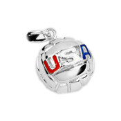 "16mm (approx.5/8""diameter) water polo ball with USA enamel in red, white, and blue."