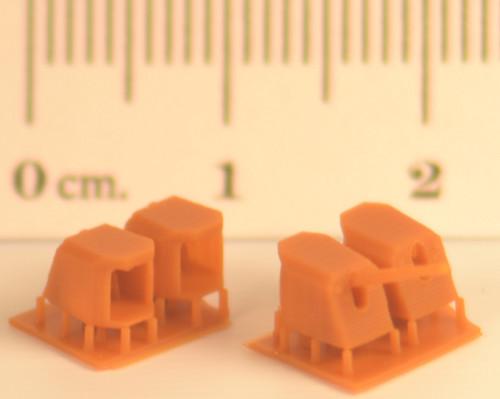 4 parts per set, + spare barrels Correct scale dimensions Open backed semi-turret