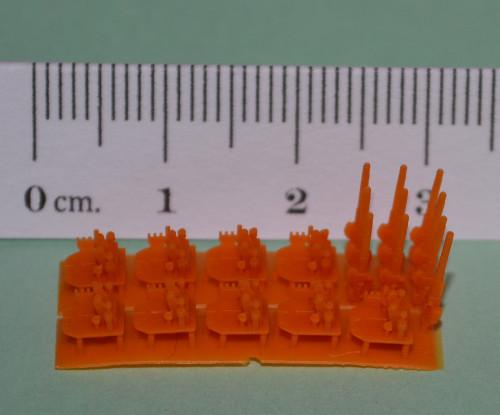 2-piece assemblies- gun and mount Makes 8 assemblies (mounts) + spare barrels