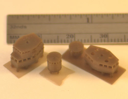 Fore and aft fighting tops, shown on wafers