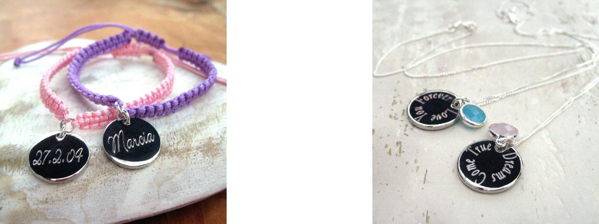 great personalised engraved womens jewellery uk handmade necklaces & bracelets