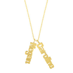Metal Nameplate Vertical Multi-Name Necklace with Chain
