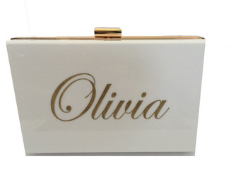 Tara Bag, White, Acrylic Clutch, Personalized Handbag, Name, Monogram, Script