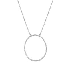 "Sterling Silver, ""O"" Necklace, XOXO"