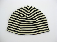 Reversible Hat in Black/Milk Stripes
