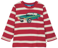 Discovery Appliqué Top, Brick Red Stripe