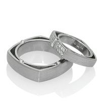 Custom Made Square Wedding Bands at Artners Gallery